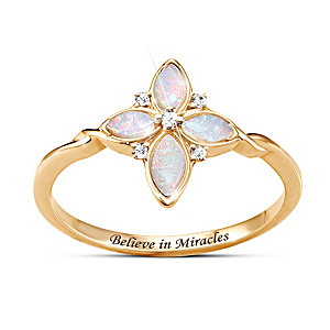 """Believe In Miracles"" Australian Opal And Diamond Cross Ring"
