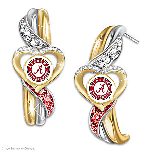 Alabama Crimson Tide Pride Earrings with Team Color Crystals