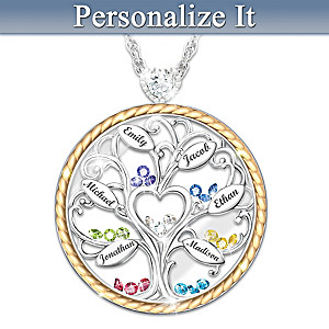 """Our Story"" Personalized Family Tree Birthstone Necklace"