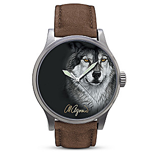 "Al Agnew ""Eyes Of The Night"" Glow-In-The-Dark Wolf Art Watch"