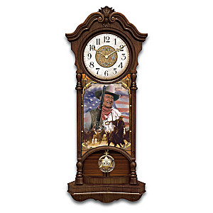 John Wayne True Patriot Illuminated Stained-Glass Wall Clock