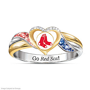 Boston Red Sox Pride Ring With Team-Color Crystals
