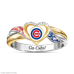 Chicago Cubs Pride Ring With Team Color Crystals