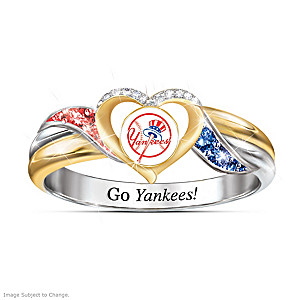 New York Yankees Pride Ring With Team-Color Crystals