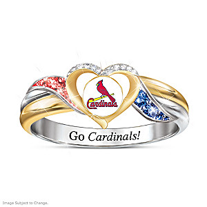 St. Louis Cardinals Pride Ring With Team-Color Crystals