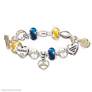 Los Angeles Chargers Charm Bracelet With Swarovski Crystals