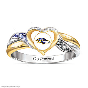 Baltimore Ravens Pride Ring With Team-Color Crystals