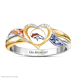 Denver Broncos Pride Ring With Team-Color Crystals