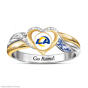 Los Angeles Rams Pride Ring With Team-Color Crystals