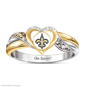New Orleans Saints Pride Ring With Team-Color Crystals
