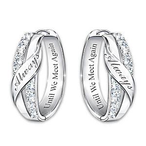 """""""Until We Meet Again"""" Memorial Diamond Hoop Earrings"""