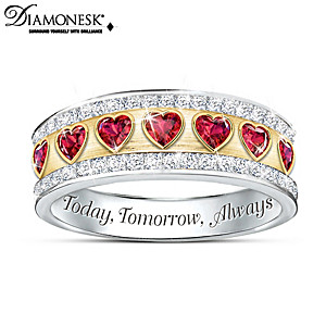 """Endless Love"" Engraved Diamonesk Ring With Heart Stones"