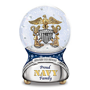 Proud Navy Family Musical Glitter Globe Plays Anchors Aweigh