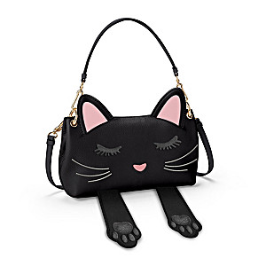"""Peek-A-Boo"" Women's Black Faux Leather Cat Handbag"