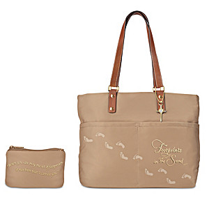Footprints In The Sand Women's Tote Bag With Cosmetic Case