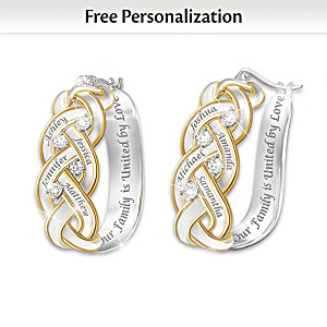 Strength Of Family Diamond Earrings With Engraved Names