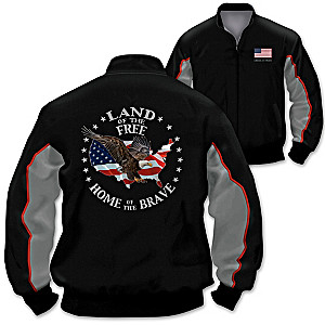 """Proud Nation"" Men's Cotton Twill Two-Toned Patriotic Jacket"