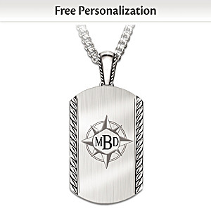 """Discover Your Path, My Son"" Monogrammed Dog Tag Necklace"