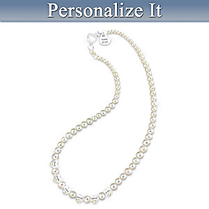 Diamond And Cultured Pearl Necklace With Up to 6 Names