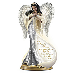On Angel's Wings Porcelain Mosaic Angel With Illumination