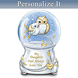 Owl Always Love You Glitter Globe With Daughter's Name