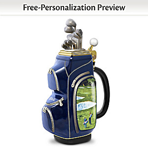 """19th Hole"" Personalized Golf Bag-Shaped Porcelain Stein"