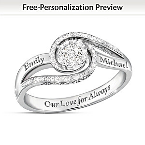 """Our Love For Always"" Personalized Diamond Ring With 2 Names"