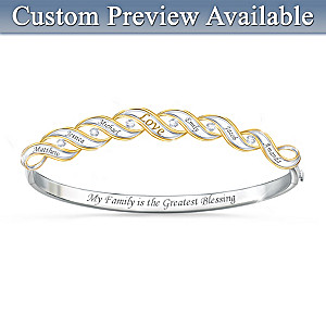 """Family Blessings"" Diamond Bracelet With 6 Engraved Names"