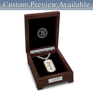 """Beloved Son"" Monogrammed Diamond Pendant With Valet Box"