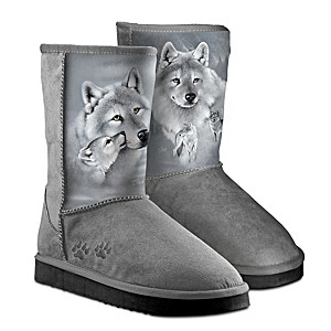 """Eddie LePage """"Silver Sovereign"""" Women's Boots With Wolf Art"""
