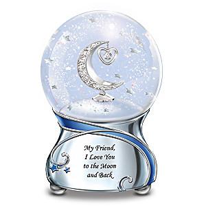 """""""Friend, I Love You To The Moon"""" Musical Glitter Globe"""