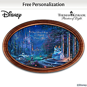 Disney Cinderella Framed Collector Plate With 2 Names