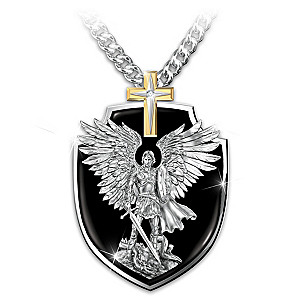 silver necklace us medal sterling badge amazon saint st protect dp com solid in shield michael