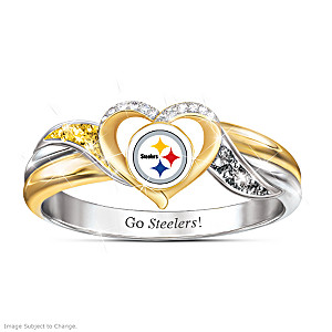 Pittsburgh Steelers Pride Ring With Team-Color Crystals