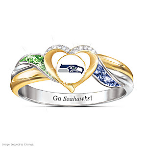 Seattle Seahawks Pride Ring With Team-Color Crystals