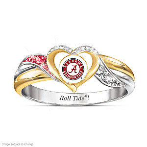 Alabama Crimson Tide Heart Ring With Team Color Crystals