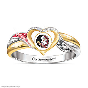 Florida State Seminoles Pride Ring With Team-Color Crystals