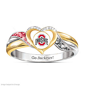 Ohio State Buckeyes Pride Ring with Team Color Crystals