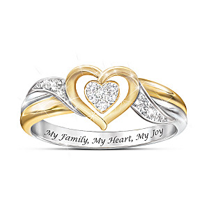 My Family, My Heart My Joy Women's Heart-Shaped Diamond Ring