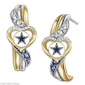 Cowboys Pride Earrings With Team-Color Crystals