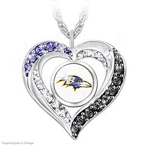 """I Love My Ravens"" Heart-Shaped Crystal Pendant Necklace"