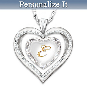 """""""Light of My Heart"""" Granddaughter Initial Pendant Necklace"""