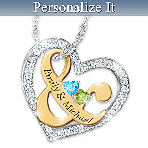 """You & Me"" Name-Engraved Couples Birthstone Necklace"