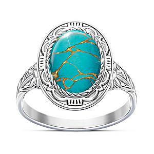 """""""Santa Fe Spirit"""" Women's Blue Mojave Turquoise Ring"""