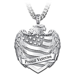 """Proud Veteran"" Men's Stainless Steel Pendant Necklace"