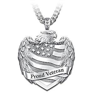 """""""Proud Veteran"""" Men's Stainless Steel Pendant Necklace"""