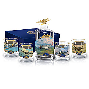 America's Freedom Flyers Decanter Set With Robert Taylor Art