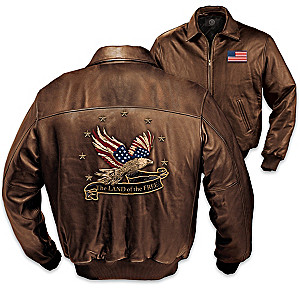 """Land Of The Free"" Men's Patriotic Leather Jacket"
