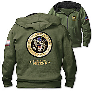 """This We'll Defend"" Men's Hoodie With Army Emblem And Motto"