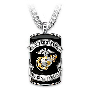 Marine Corps Pride Stainless Steel Dog Tag Pendant Necklace